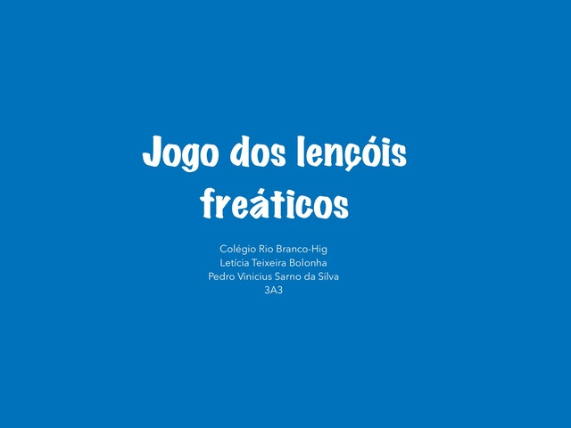 3A3 Letícia T. E Pedro V. Lençóis Freáticos  by Laboratorio Apple CRB Higienop