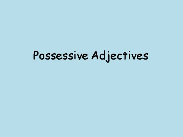 Possessive Adjectives by Cindy Wong