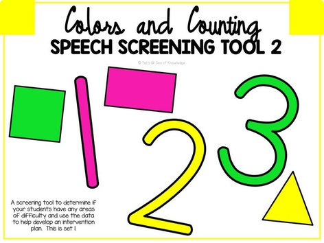 Speech Screening Tool 2 - Colours And Counting  by Yara Habanbou