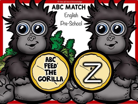 ABC Lowercase Match Feed the Gorillas (EN UK) by Yara Habanbou