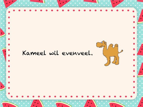 Kameel wil evenveel. by Elise Coppens