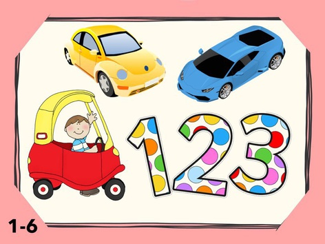 Math Numbers Counting 1-6 Cars by Liat Bitton-Paz