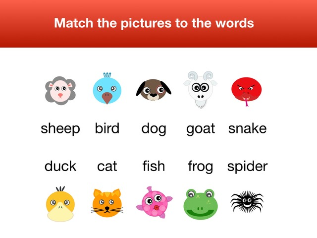 Match pictures to the words Animals by Teeny Tiny TEFL