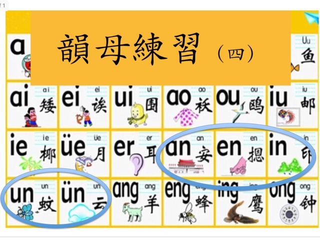 韻母練習(四)an en in un by Primary Year 2 Admin