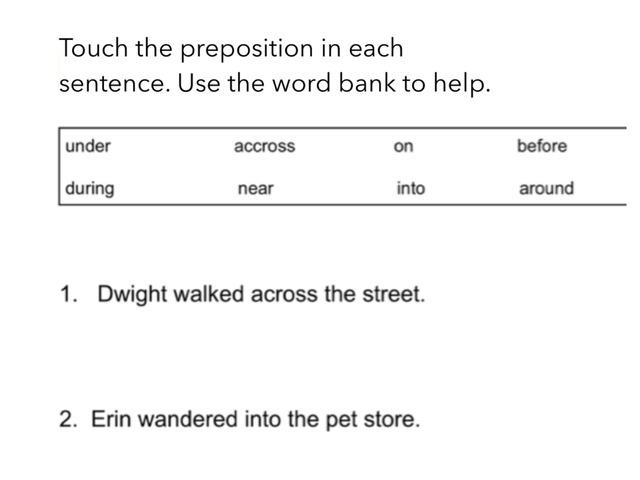 Prepositions by Raylene Fuchsel