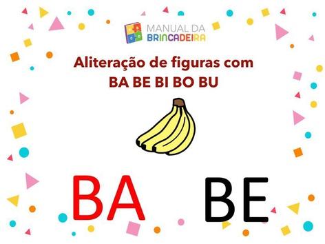 Aliteração De Figuras com BA BE BI BO BU - Manual da Brincadeira  by Manual Da Brincadeira Miryam Pelosi