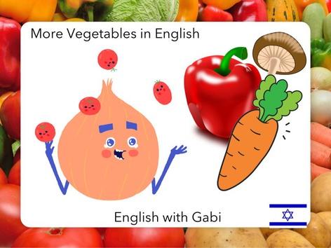 Vegetables: Red Pepper Onion Mushroom Carrot by English with Gabi אנגלית עם גבי