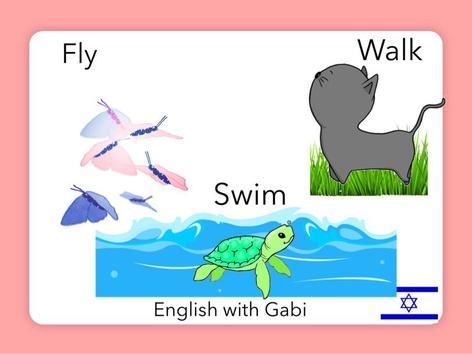 Fly Swim Walk by English with Gabi אנגלית עם גבי