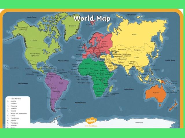 World map by Deborah Fletcher