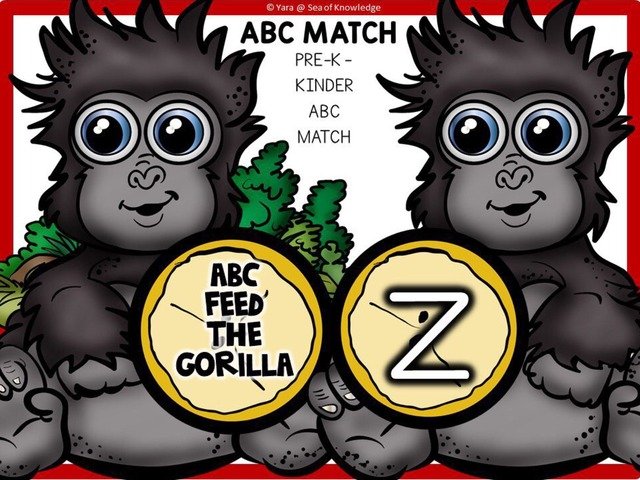 ABC Lowercase Match Feed The Gorillas by Yara Habanbou