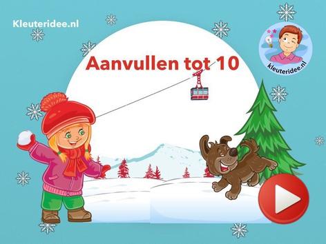 Vrienden van 10, Aanvullen tot 10, Winter, Kleuteridee.nl by Juf Petra Kleuteridee