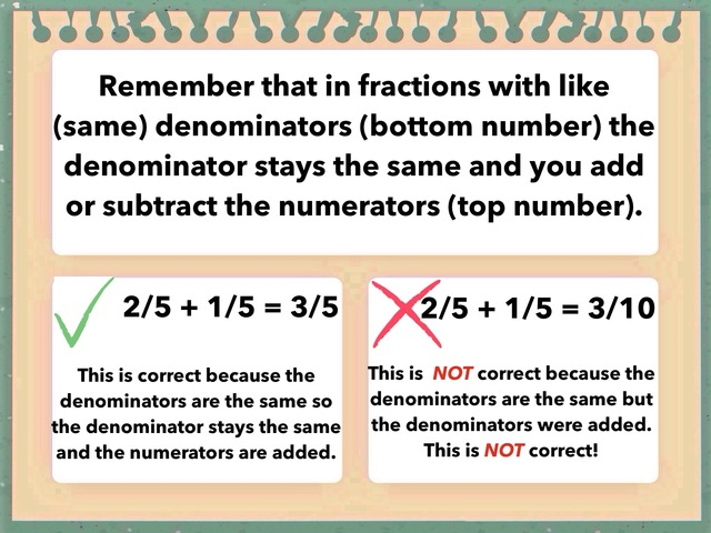 Adding And Subtracting Fractions With Like Denominators  by Tanya Folmsbee