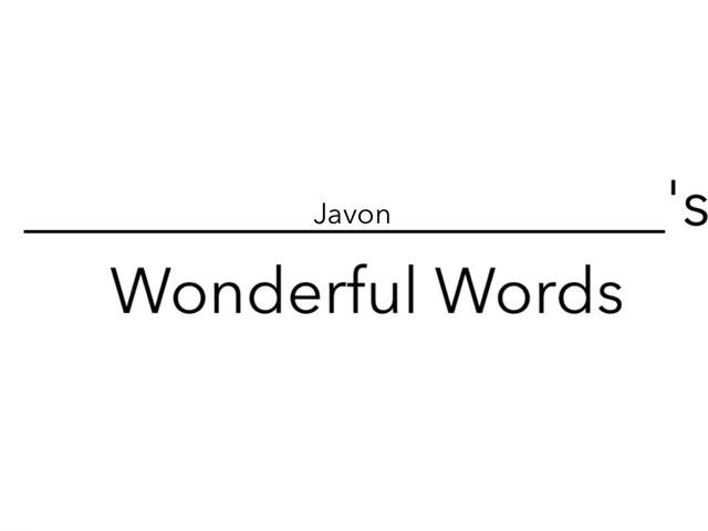 Javon's Wonderful Words by Erin Moody