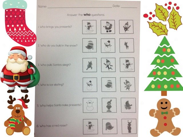 """Answering Christmas """"who"""" Questions by Tanya Folmsbee"""
