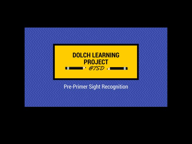 Word ID 2: Dolch Pre-Primer  by TSD Library