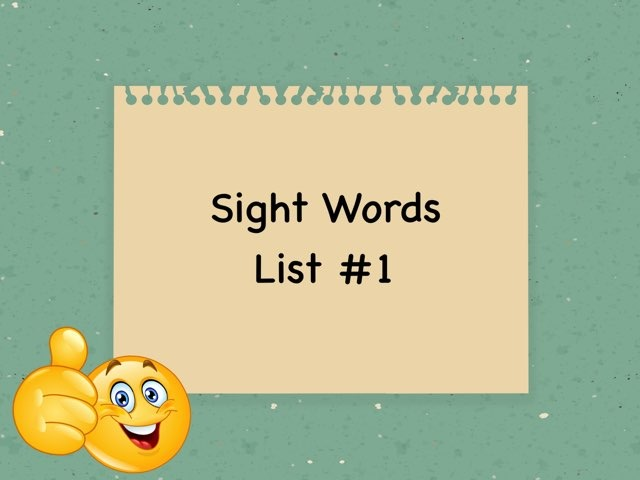 Dolch Sight Words List #1 by Christine Snow