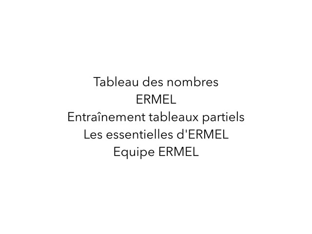Tableau Des Nombre ERMEL 2 by Fabien EMPRIN