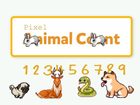 Pixel Animal Count 1-10 by Yogev Shelly