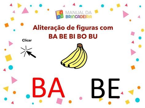 Aliteração De Figuras com BA BE BI BO BU - Manual da Brincadeira  by Manual da Brincadeira