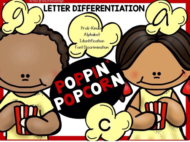 Letter A-Z Identification Game - Poppin Popcorn by Yara Habanbou