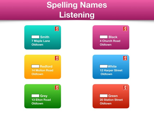 Spelling names - Listen to the spelling and write by Teeny Tiny TEFL