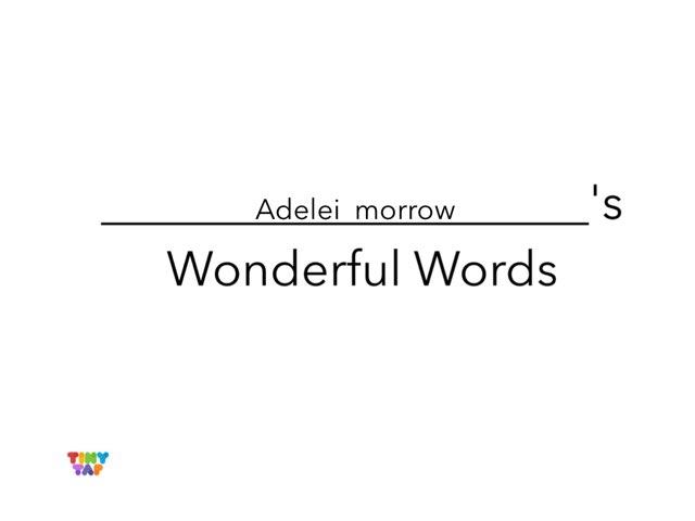 Adelei's Wonderful Words by Erin Moody