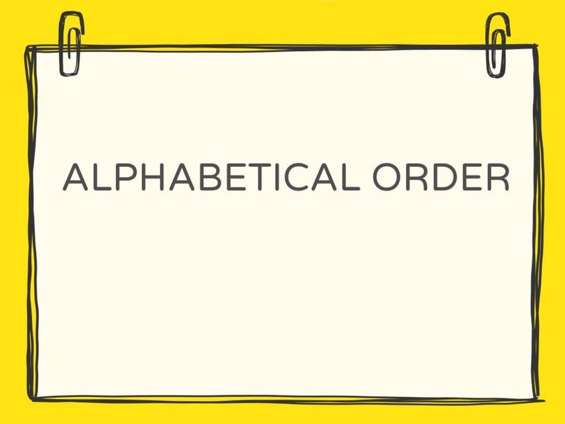 Alphabetical order by Shantal Farquharson