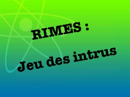Rimes : jeu des intrus by ingrid mo