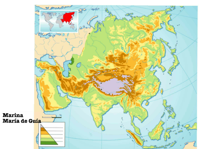 Mapa físico Asia by Marina Rubio