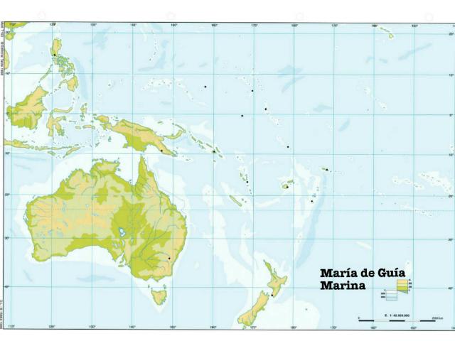 Mapa físico de Oceanía by Marina Rubio