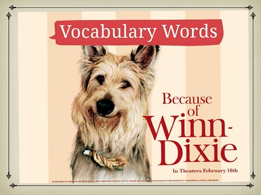 Because of Winn- Dixie Vocabulary by Sheyma M.