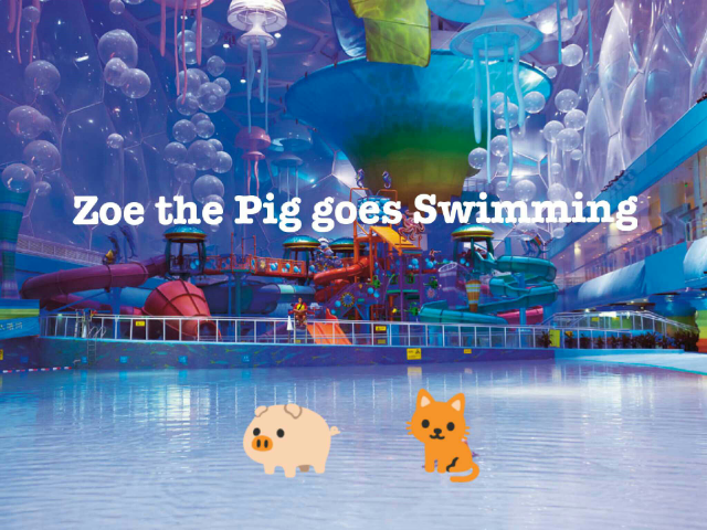 Zoe the pig and Cleo the cat are going swimming by Zoe the Pig