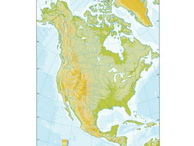 Mapa físico América dell Norte by Nieves Lopez