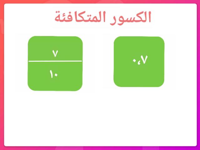 الكسور المتكافئة by عقيلة صالح سلمان