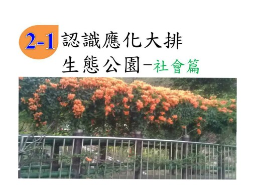 應化大排生態園區關於小學三年級社會科的介紹 by 16號 蔡蜜蜜