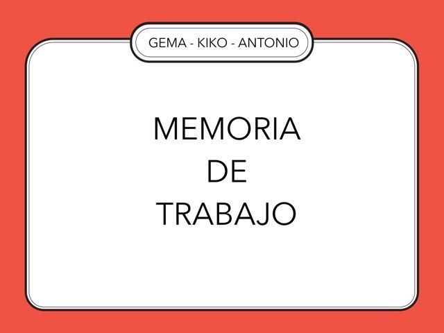Memoria De Trabajo  by Zoila Masaveu