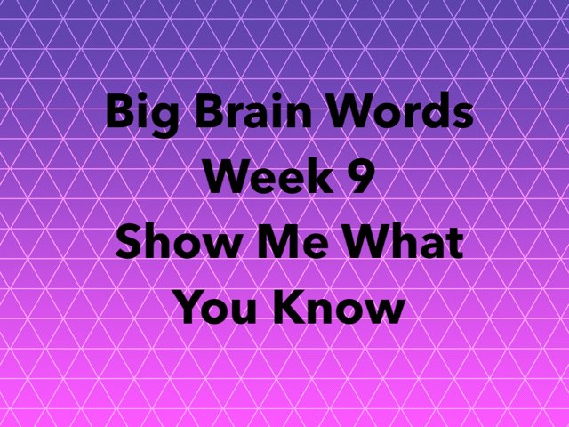 Big Brain Words Week 9 Show Me What You Know by Michelle Knight