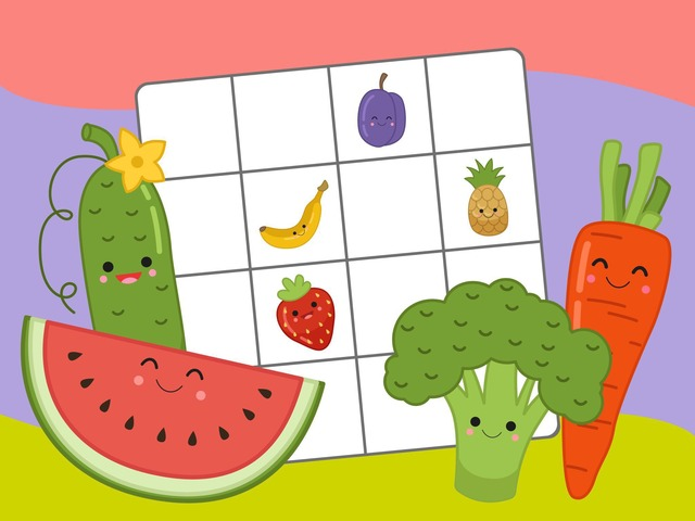 Fruits & Vegetables Sudoku by Tiny Tap
