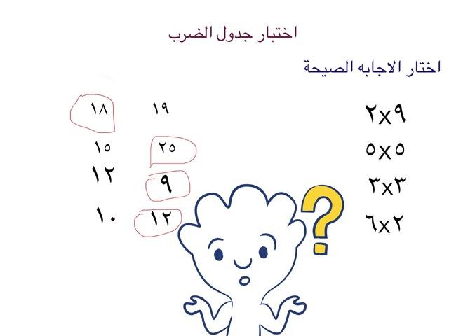 اختبار جدول الضرب  by Razan Banbr