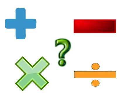 Addition Subtraction Multiplication Division Question Mark Game by Misha