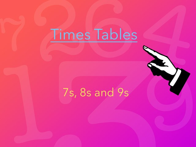 Times Tables 7s, 8s And 9s by Mrs Rawlinson