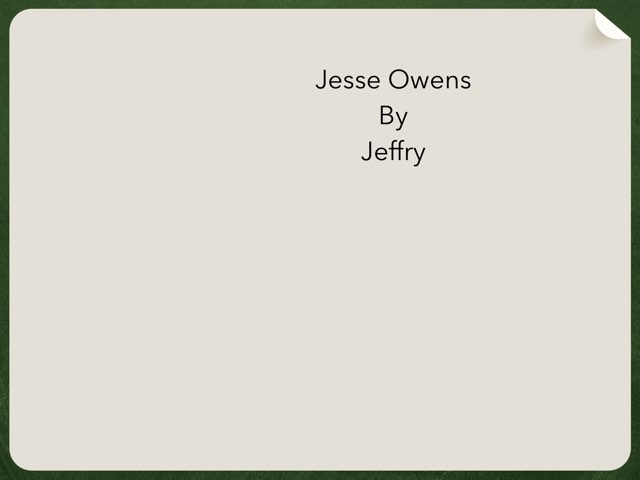 Jesse Owens By Jeffry by Christine Snow