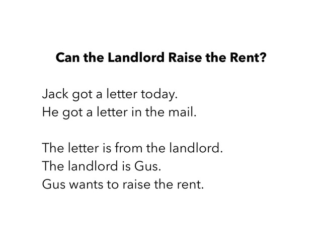 Can The Landlord Raise The Rent  by Rebecca Jarvis