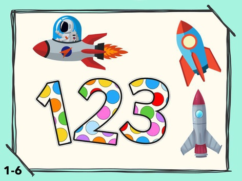 Math Numbers Counting 1-6 SpaceShip  by Liat Bitton-paz