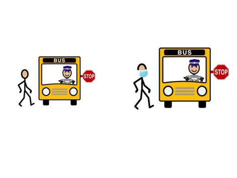 نصعد الي الباص مع كمامة by khadeje okab