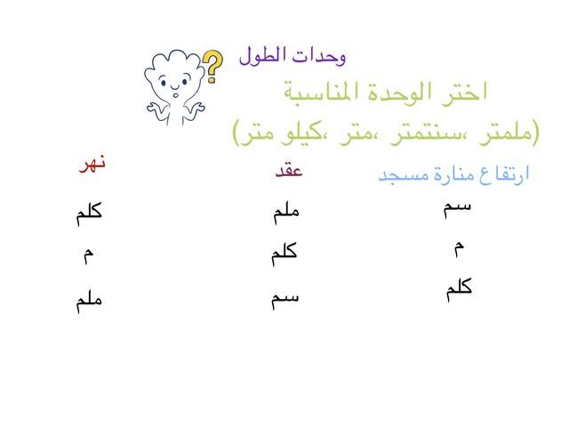 وحدات الطول الطالبة:غلا المنصور صف:خامس by A_M