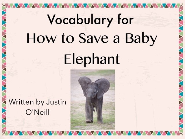 Vocabulary Lesson For How To Save A Baby Elephant  by Karen Souter