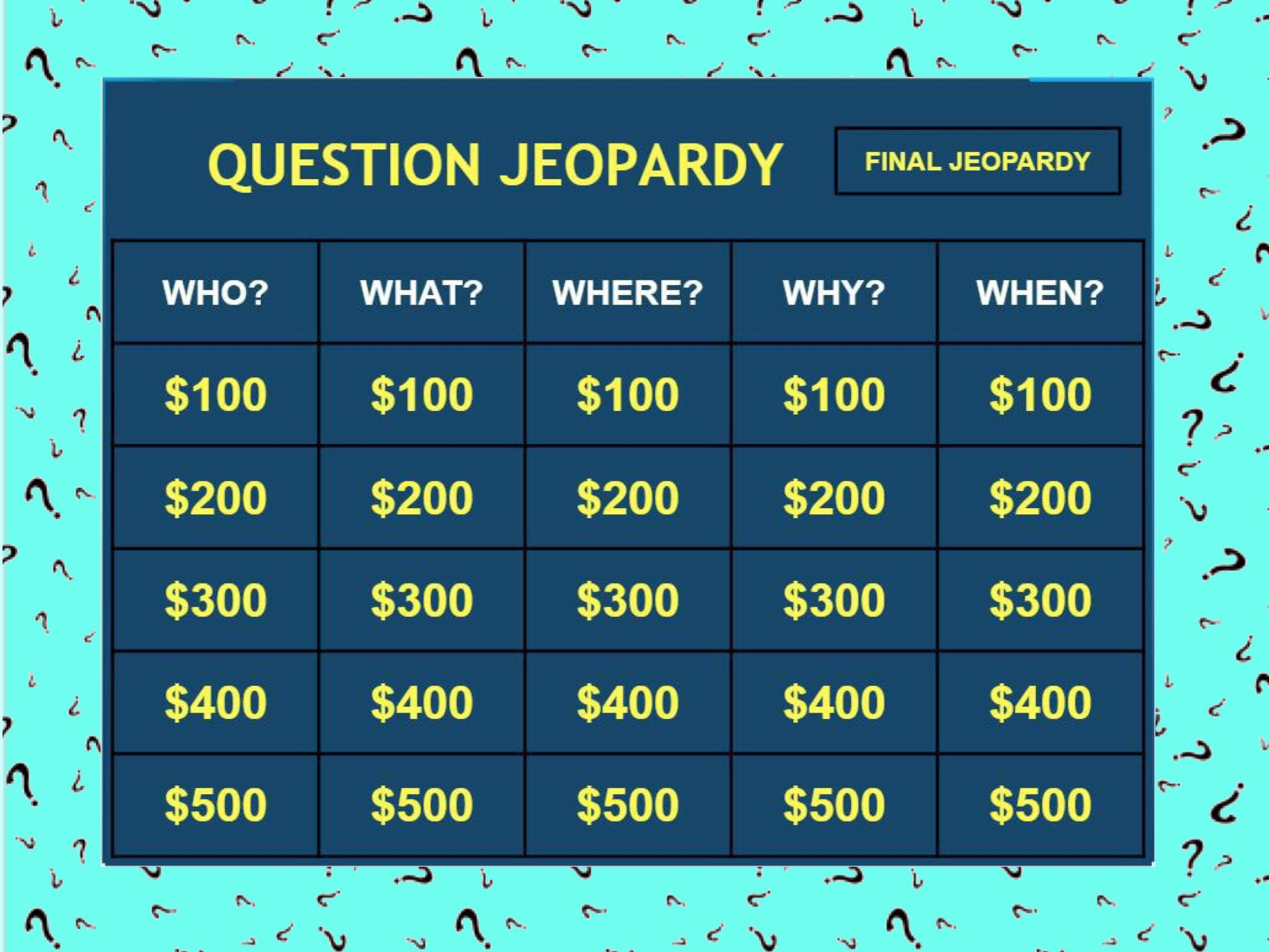 Play QUESTION JEOPARDY by Ellen Weber - on TinyTap