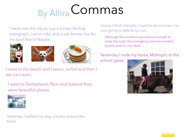 Commas By Allira by Year Four 2015