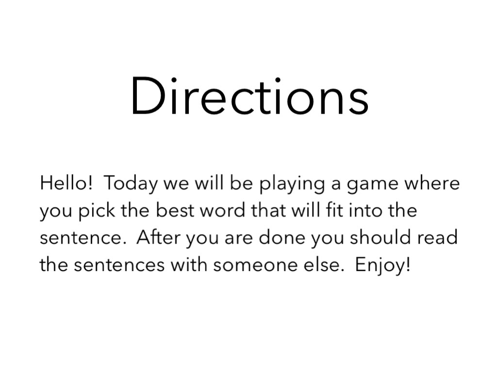 Complete The Sentence by Mrs Chubb - Educational Games for